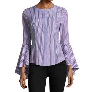 Milly Purple Striped Michelle Bell Sleeve Top - 0
